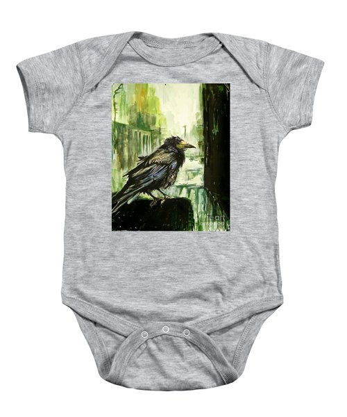 Cityscape With A Crow Baby Onesie