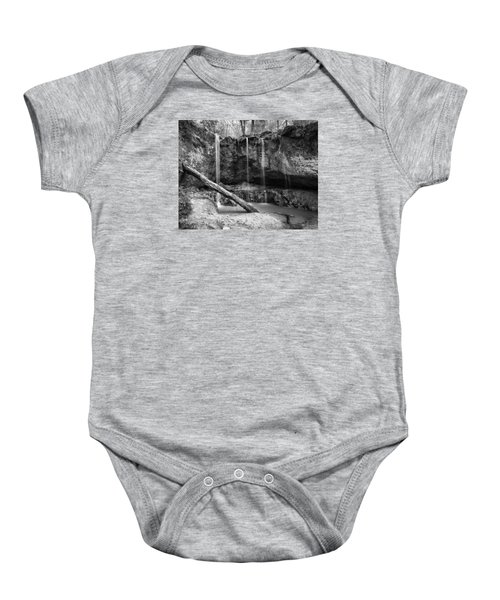 Clark Creek Nature Area Waterfall No. 2 In Black And White Baby Onesie