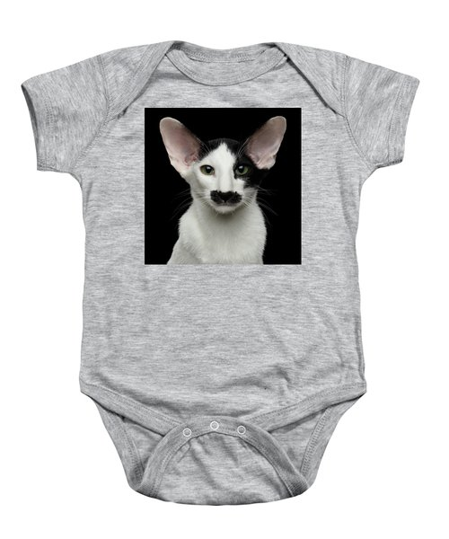Closeup Funny Oriental Shorthair Looking At Camera Isolated, Bla Baby Onesie