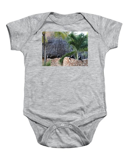 Colobus Monkey Resting On A Wall Baby Onesie