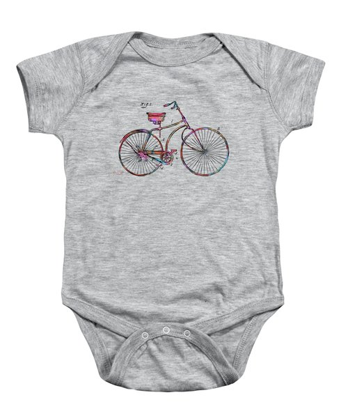 Colorful 1890 Bicycle Patent Minimal Baby Onesie