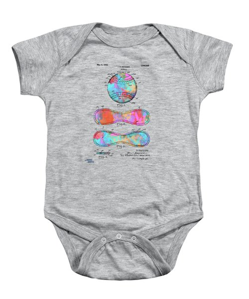 Colorful 1928 Baseball Patent Artwork Baby Onesie
