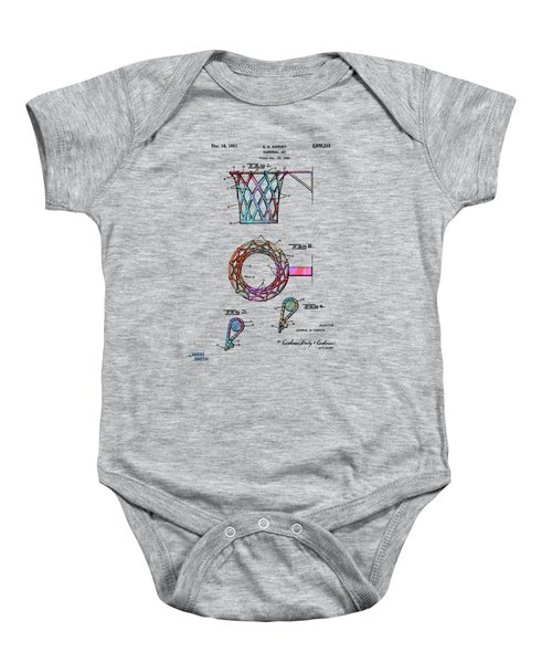 Colorful 1951 Basketball Net Patent Artwork Baby Onesie