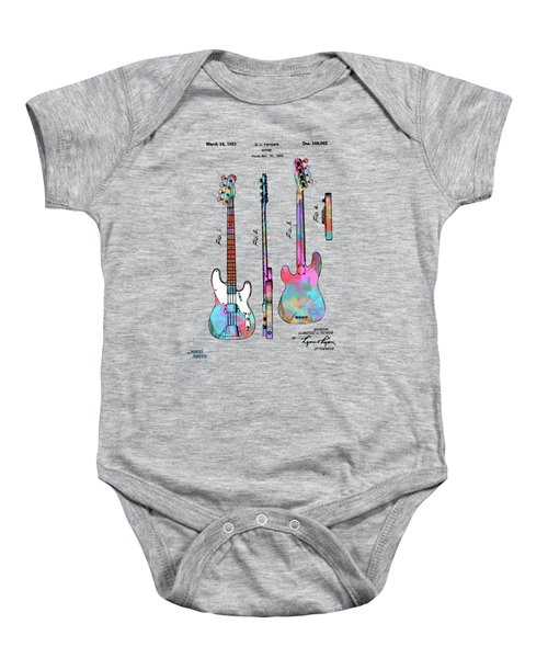 Colorful 1953 Fender Bass Guitar Patent Artwork Baby Onesie