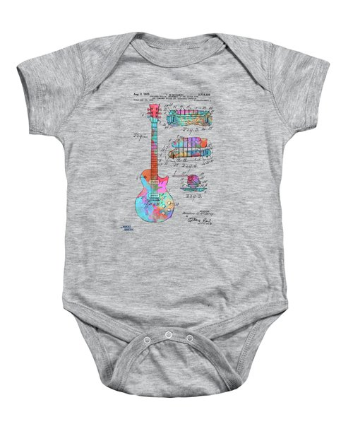 Colorful 1955 Mccarty Gibson Les Paul Guitar Patent Artwork Baby Onesie