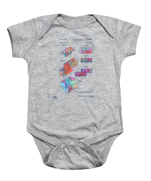 Colorful 1961 Toy Building Brick Patent Art Baby Onesie