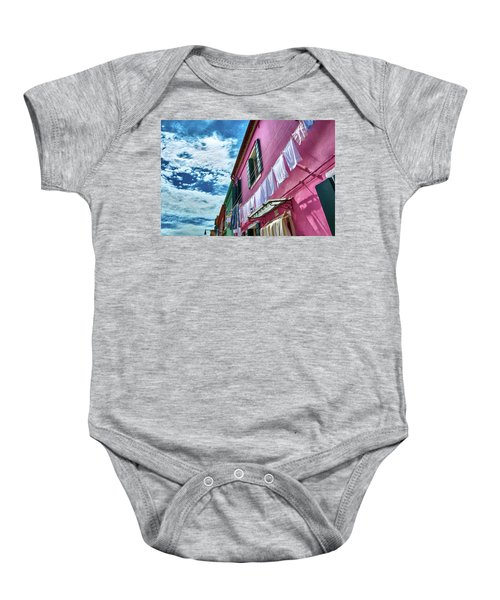 Colorful Facade With Laundry In Burano Baby Onesie