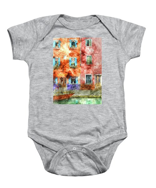 Colorful Houses In Burano Island, Venice Baby Onesie