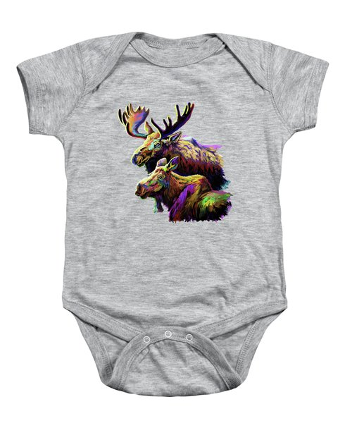 Colorful Moose Baby Onesie by Anthony Mwangi