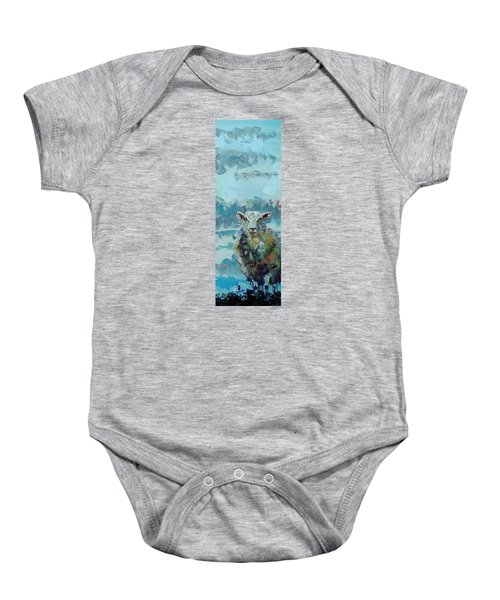 Colorful Sky And Sheep - Narrow Painting Baby Onesie