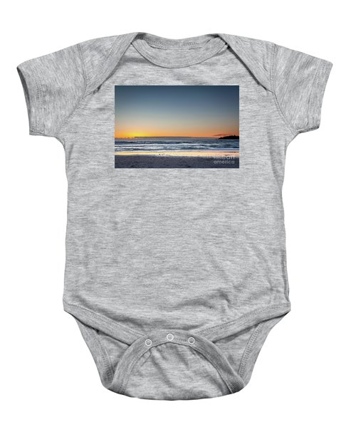 Colorful Sunset Over A Desserted Beach Baby Onesie