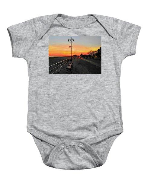 Coney Island Boardwalk Sunset Baby Onesie