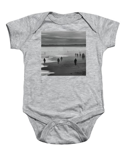 Baby Onesie featuring the photograph Coney Island Walkers by Eric Lake