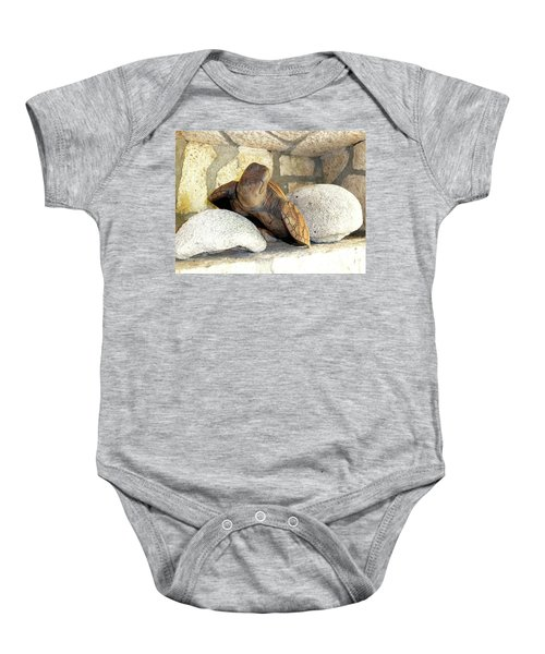 Baby Onesie featuring the photograph Coral And Turtle Decor by Francesca Mackenney