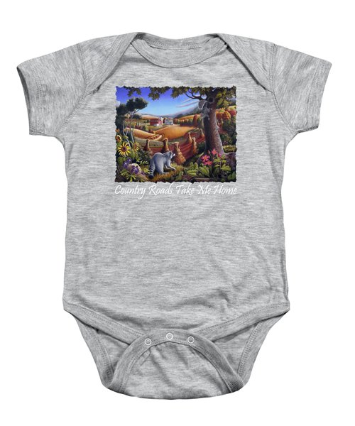Country Roads Take Me Home T Shirt - Coon Gap Holler - Appalachian Country Landscape 2 Baby Onesie by Walt Curlee