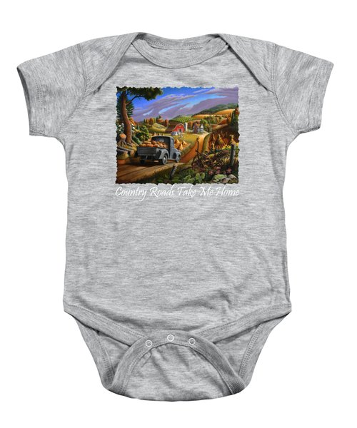 Country Roads Take Me Home T Shirt - Taking Pumpkins To Market Rural Farm Landscape 2 Baby Onesie