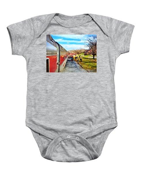 Country Train Depot Baby Onesie