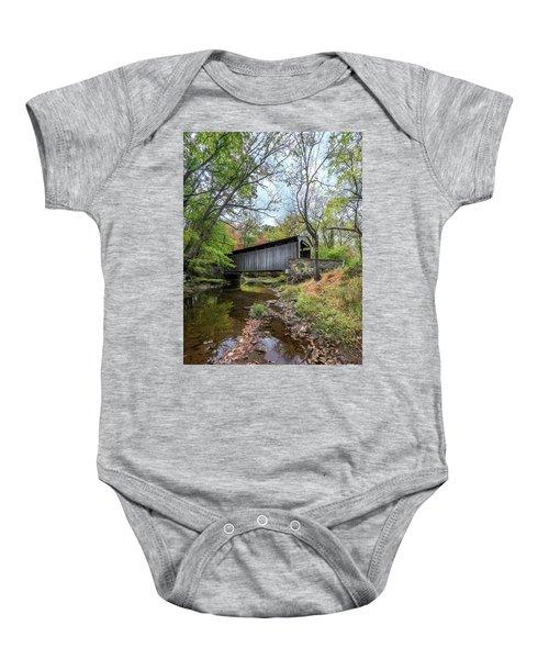 Covered Bridge In Pennsylvania During Autumn Baby Onesie