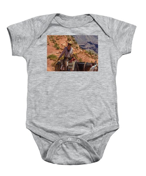 Cowgirl Leading A Mule Train On The South Kaibab Trail Baby Onesie