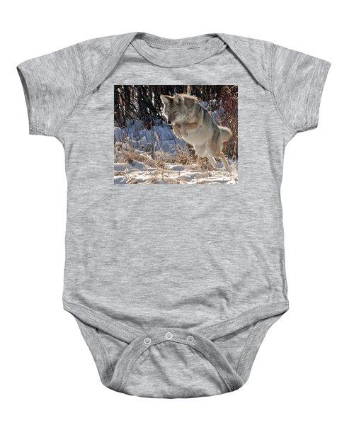 Coyote In Mid Jump Baby Onesie