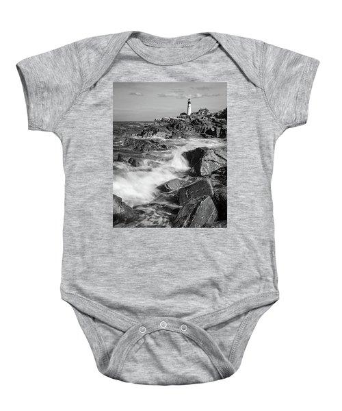 Crashing Waves, Portland Head Light, Cape Elizabeth, Maine  -5605 Baby Onesie