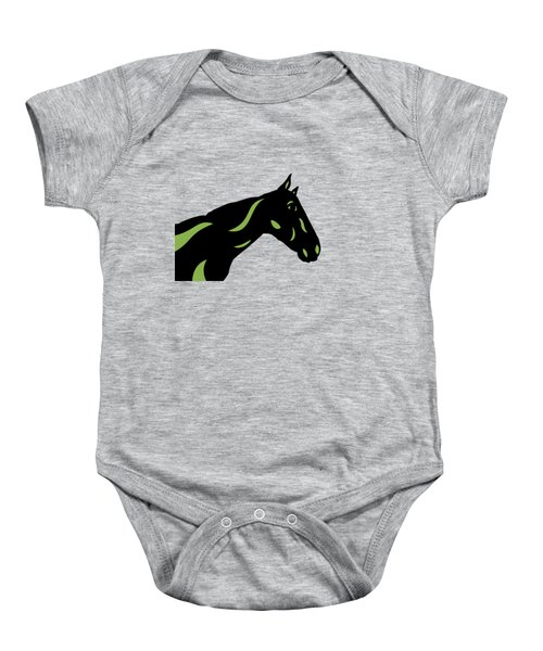 Crimson - Pop Art Horse - Black, Greenery, Purple Baby Onesie