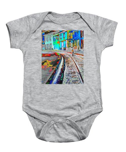 Crossing The Tracks Baby Onesie