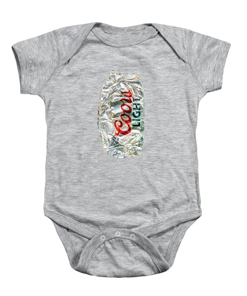 Crushed Light Silver Beer Can On Bw Plywood 79 Baby Onesie