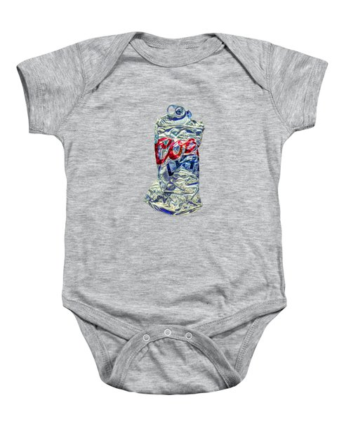 Crushed Silver Light Beer Can On Plywood 80 Baby Onesie