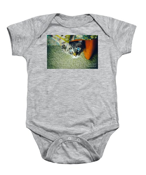 Baby Onesie featuring the photograph Curious Kitty by Silvia Ganora