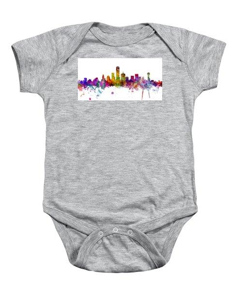 Dallas Texas Skyline Panoramic Baby Onesie