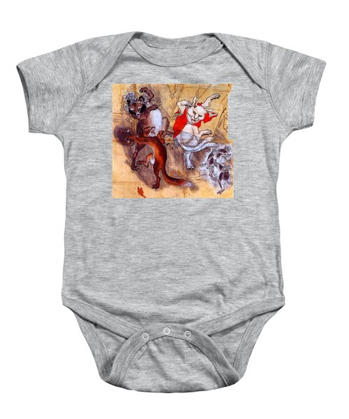 Japanese Meiji Period Dancing Feral Cat With Wild Animal Friends Baby Onesie by Peter Gumaer Ogden Collection