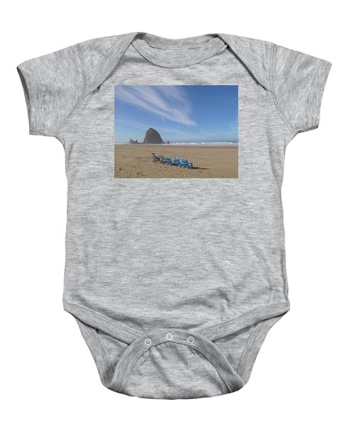 Day At Haystack Rock Baby Onesie