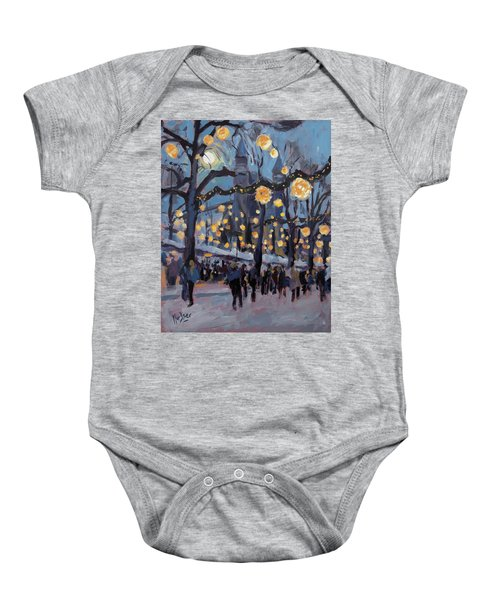 December Lights At The Our Lady Square Maastricht 1 Baby Onesie by Nop Briex