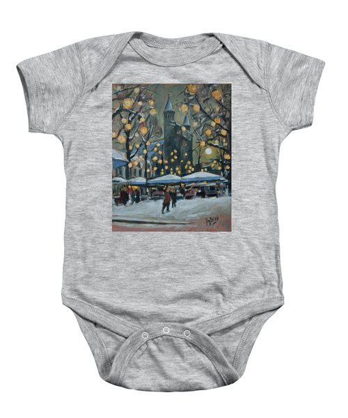 December Lights At The Our Lady Square Maastricht 2 Baby Onesie by Nop Briex