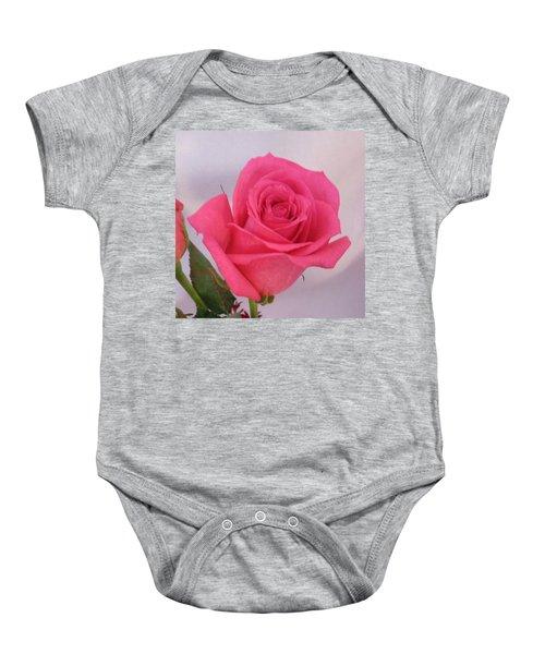 Single Deep Pink Rose Baby Onesie
