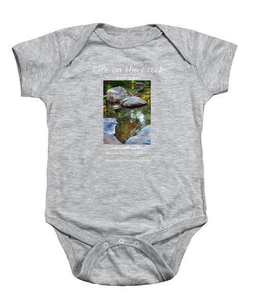 Deer Creek Point - White Text Baby Onesie