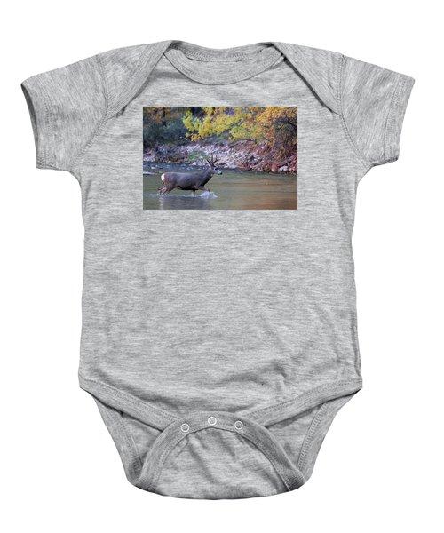 Deer Crossing River Baby Onesie