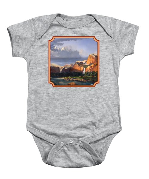 Deer Meadow Mountains Western Stream Deer Waterfall Landscape - Square Format Baby Onesie