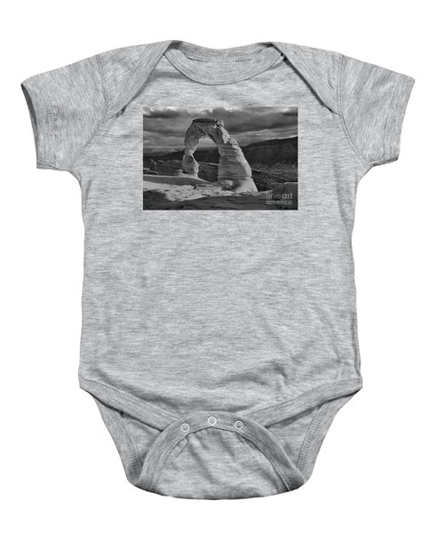 Delicate Arch Black And White Sunset Shadow Baby Onesie