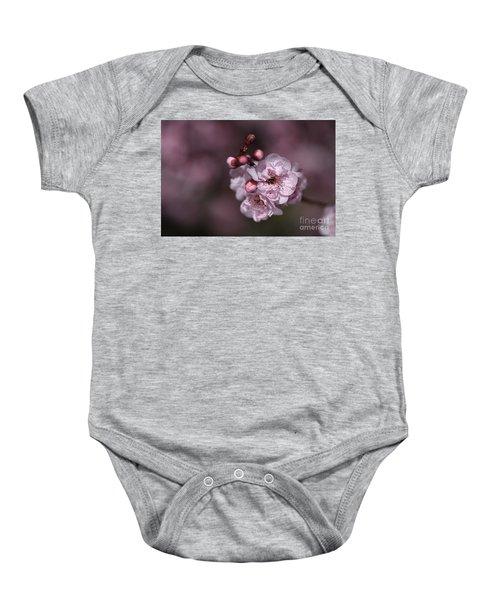 Delightful Pink Prunus Flowers Baby Onesie