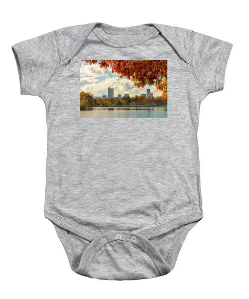 Denver Skyline Fall Foliage View Baby Onesie