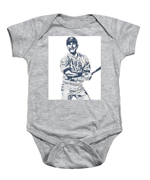 Derek Jeter New York Yankees Pixel Art 13 Baby Onesie