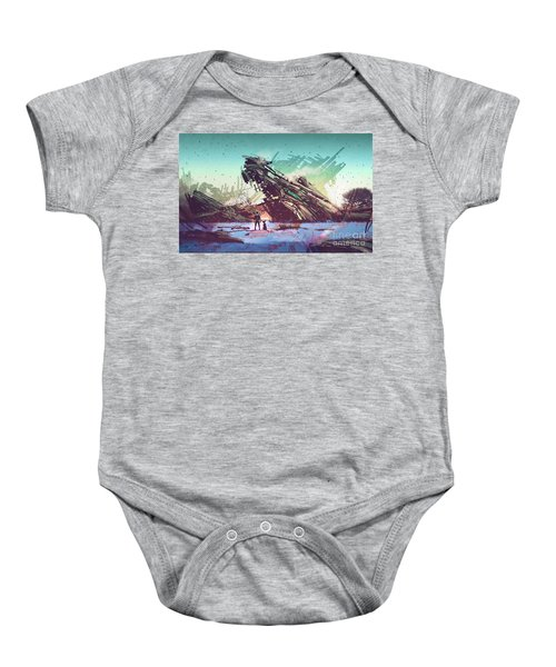 Baby Onesie featuring the painting Derelict Ship by Tithi Luadthong