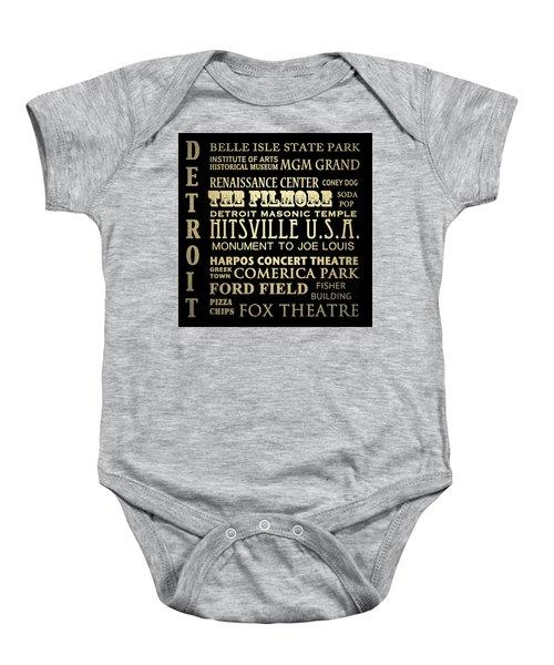 Detroit Michigan Famous Landmarks Baby Onesie
