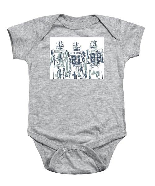 8eca4057f11350 Dez Bryant Ezekiel Elliott Dak Prescott Dallas Cowboys Pixel Art Baby Onesie