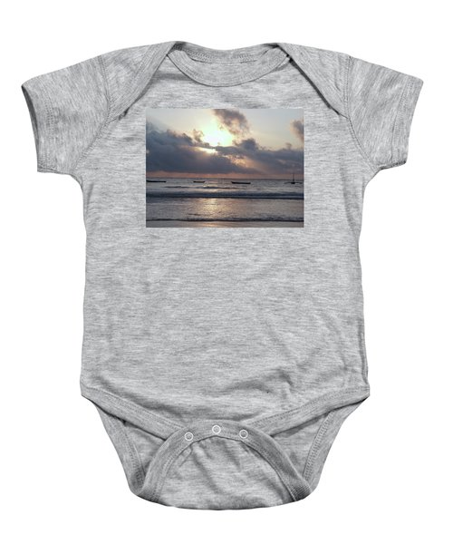 Dhow Wooden Boats At Sunrise 1 Baby Onesie