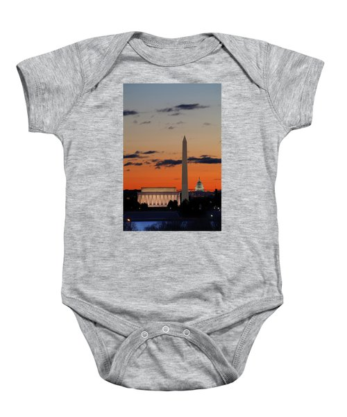 Digital Liquid -  Monuments At Sunrise Baby Onesie