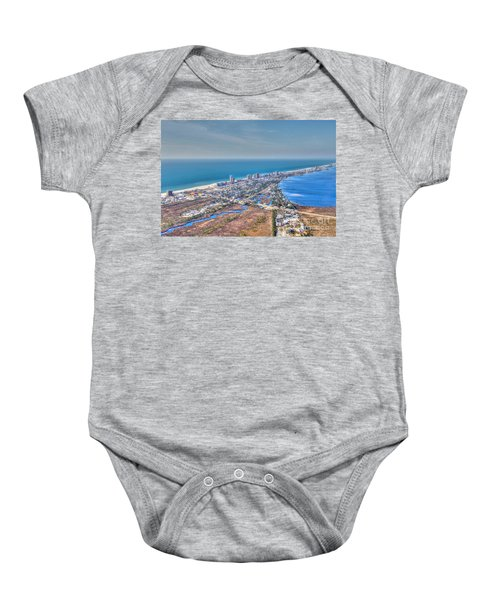 Distant Aerial View Of Gulf Shores Baby Onesie