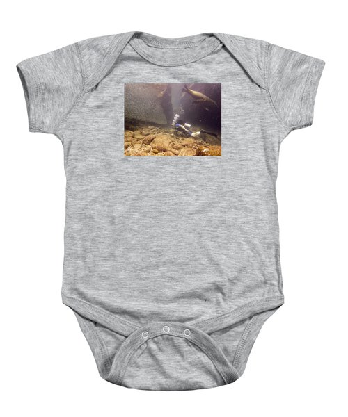Diver And Sea Lion Baby Onesie